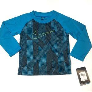Nike toddler boys blue long sleeve shirt